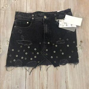 New! Zara rock denim black skirt NWT